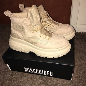 Missguided Beige Sneaker Boots